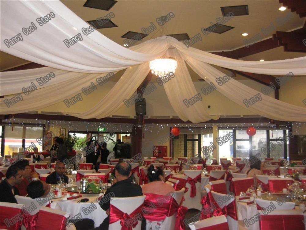 10 pcslot blanc de luxe de mariage plafond drap toit draperie 12 m x 14 - Drap Mariage Plafond