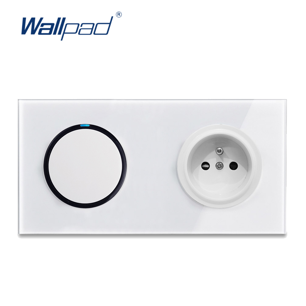 Wallpad L6 1 Gang 1 Way 2 Way Light Switch With French Wall Socket Electric Power Outlet White Glass Panel Frame 172 X 86