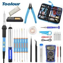 Toolour Kit de soldadura eléctrico de hierro, 60W, multímetro Digital retroiluminado, ajuste de temperatura, ayuda para soldar, herramientas de reparación de soldadura