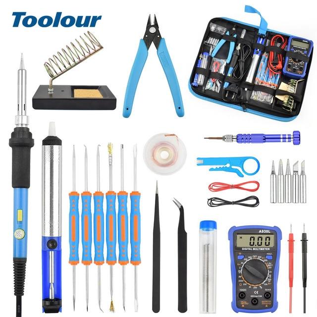Toolour eu/us 60 w 온도 조절 전기 납땜 인두 키트 백라이트 디지털 멀티 미터 솔더 보조 세트 용접 수리 도구