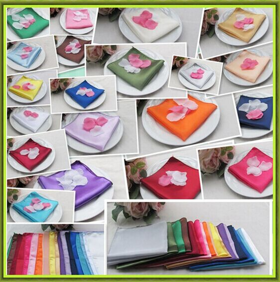Marious Brand Hot sale & hot sale !! 100pcs 17x17 100% satin table napkin cheap for sale FREE SHIPPING