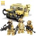DIY Self-Locking Bricks Doll Land Rover Figures Building Blocks Military Series Soldier Army Set children Kids Toys Model Toy