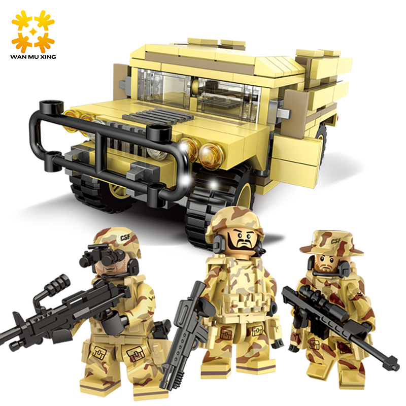 DIY Self-Locking Bricks Doll Land Rover Figures Building Blocks Military Series Soldier Army Set children Kids Toys Model Toy