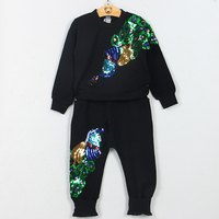 New Arrival Baby Girls Clothing Set Cotton Vivid Peacock Embroidery Sleeved Tees Full Length Pants Suit