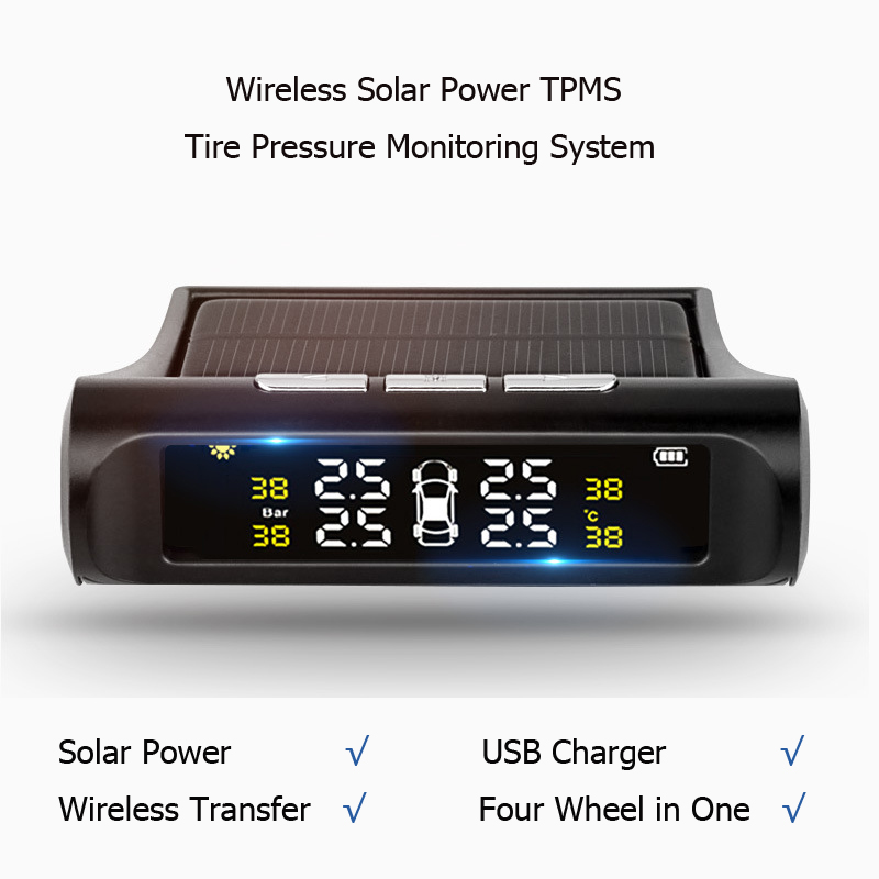 Hot Sale Wireless Solar Power TPMS Tire Pressure Monitoring System Digital Security Alarm System With Car External Sensor digital wireless security kit four channel available monitoring