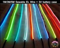Sewable EL Wire Tron led Neon light tape Glow el Wire Easy Sew Tag Strip tube lights 1m 3m 5m + 3V Battery case driver