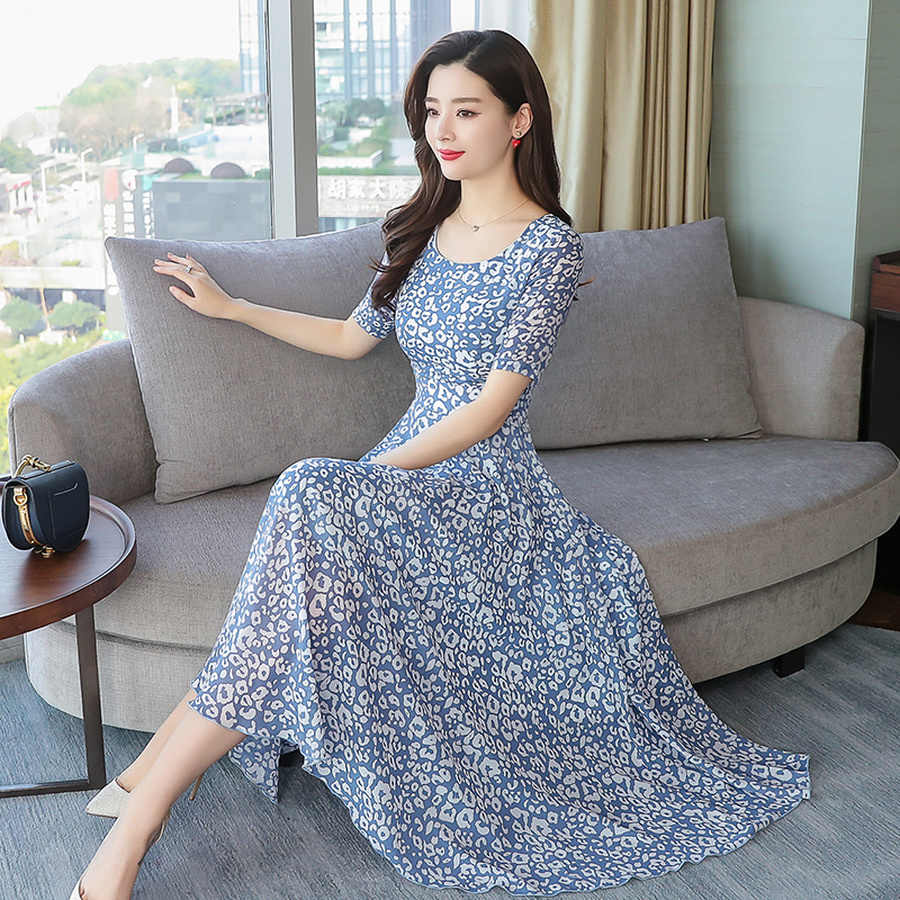 2019 цветочное шифоновое облегающее пляжное платье миди элегантные женские вечерние платья летние винтажные 3XL размера плюс с принтом Бохо Макси Сарафан