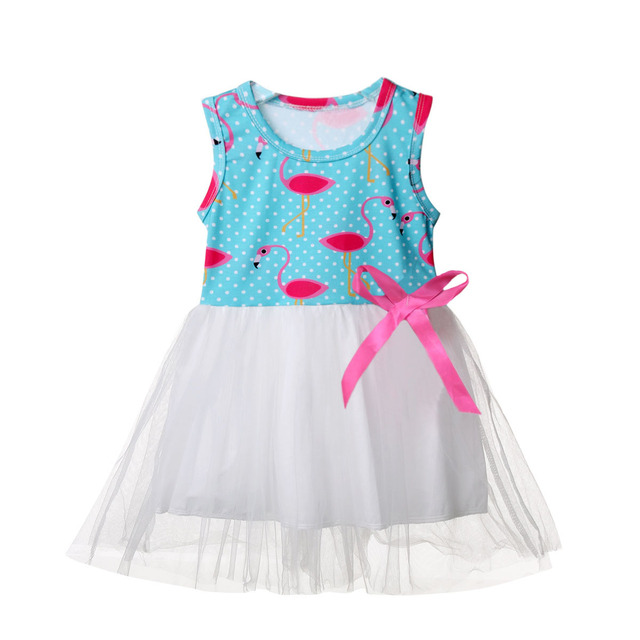 Fancy Baby Girl Dresses Tutu One-piece Flamingo Holiday Casual Party Dress  Summer Sleeveless Princess 847a743dc6c6