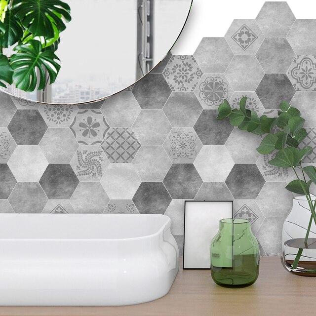 Budget 10 Teile Satz Grau Fliesen Aufkleber Hexagon Boden