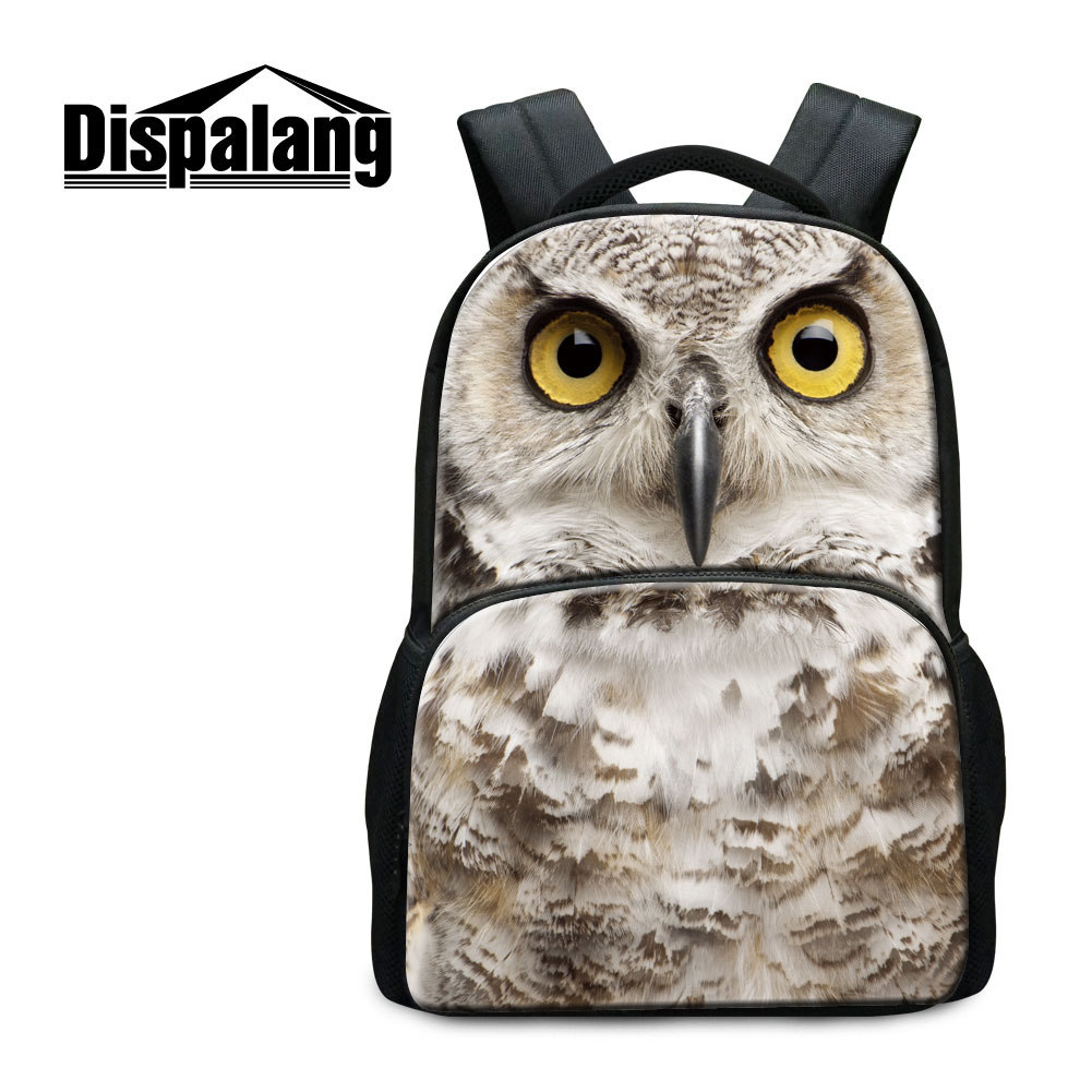 Dispalang Animal Backpack For High School Students 17 Inch Women Outdoors Travel Bags Owl Pattern Bagpack Canvas Rucksack Rugzak animal футболка animal outdoors f94 s