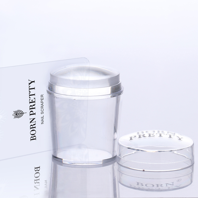 4cm XL Clear Marshmallow Silicone Jelly Stamper with Cap 1PC Nail Art Stamper & Scraper Stamp Tool Set # 26498