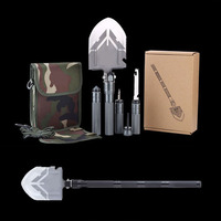 15 Functions EDC Portable Folding Camping Shovel Survivals Stainless Steel Multifunctional Military Outdoor Tactical Pala