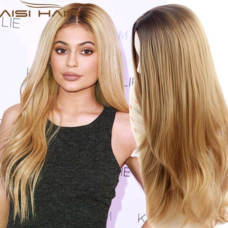 """Synthetic Wigs 28 inch"""" Long Ombre Blonde Wig Drag Queen Hair Cheap Female for Black Women Wavy Curly Hair"""""""