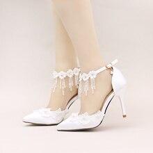 Wome sandals wedding shoes White lace flower rhinestone crystal wristband bridal shoes pointed toe thin heels satin female shoe