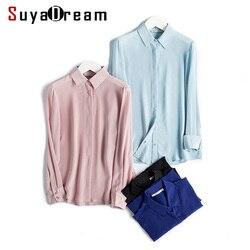 Camisa de mujer camisa de botón sólido 100% seda Natural camisa blusa informal femeninas 2018 nuevo Rosa blanco negro