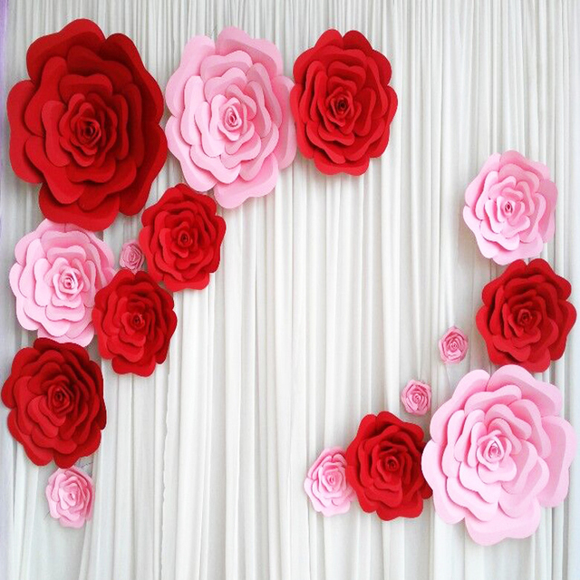 16pcs set giant paper flowers handmade foam flower stereo rose for 16pcs set giant paper flowers handmade foam flower stereo rose for wedding background backdrop decorations 18 mightylinksfo