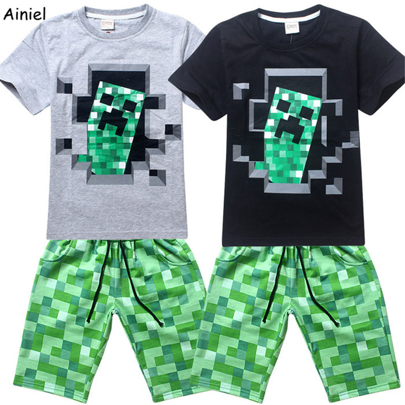 Ainiel 100% Cotton My World Freddy Fazbear Five Nights at Freddy's Teddy Bear Summer Cartoon T Shirt Top Pants Set Boy Kids