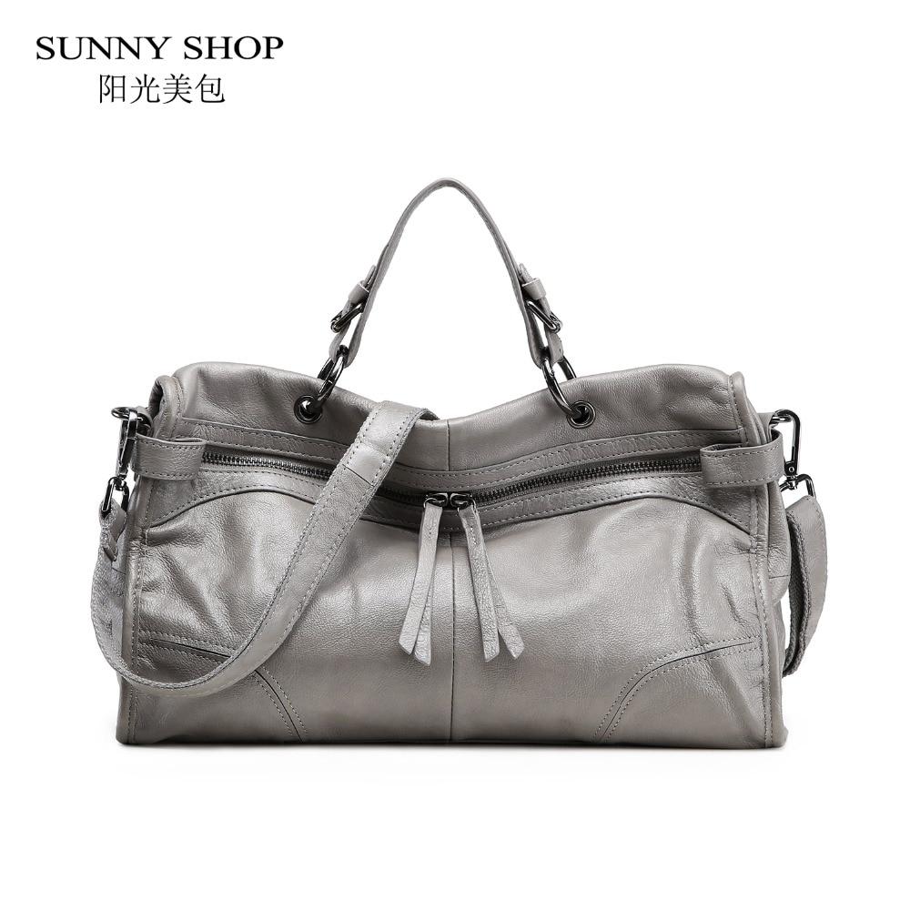 SUNNY SHOP 100% Genuine Leather Luxury Women Bag Natural Skin Handbags Formal Business Shoulder Bags Vintage Design