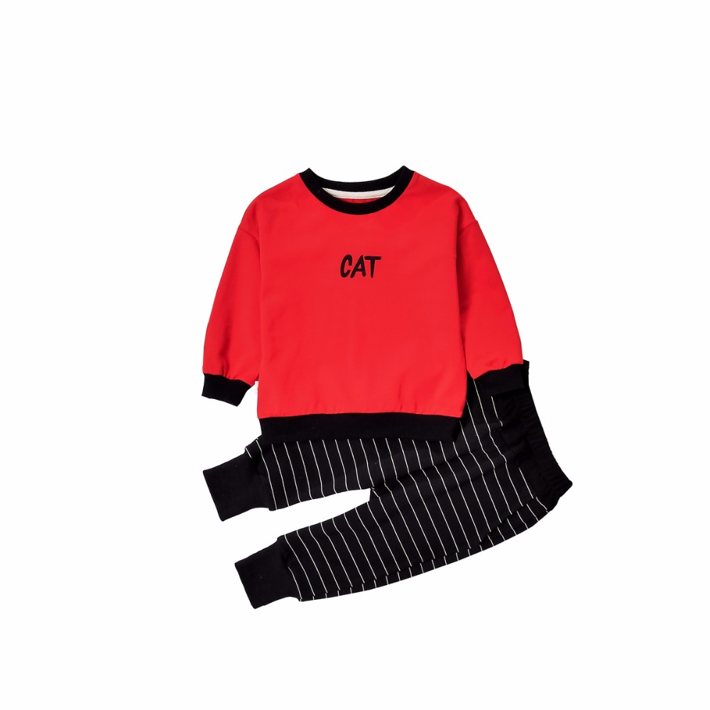 2018 Fashion Casual Children Clothing Girls Long Sleeved Tops Red Cats Pattern T-shirt+Striped Pants 2pcs Bebes Jogging Suits