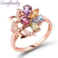 Kleurrijke Toermalijn, Peridot, amethist, Topaz Ring Echte 14 K Rose Goud Natuurlijke Diamant Mooie Sieraden voor Meisje