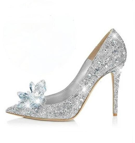 Rhinestone High Heels Shoes Women Pumps Pointed toe Woman Crystal Wedding Shoes Zapatos Mujer Slip-on Bride Dress Shoes hot designer wedding sandals jeweled pumps crystal covered stiletto high heels floral rhinestone bride dress shoes women