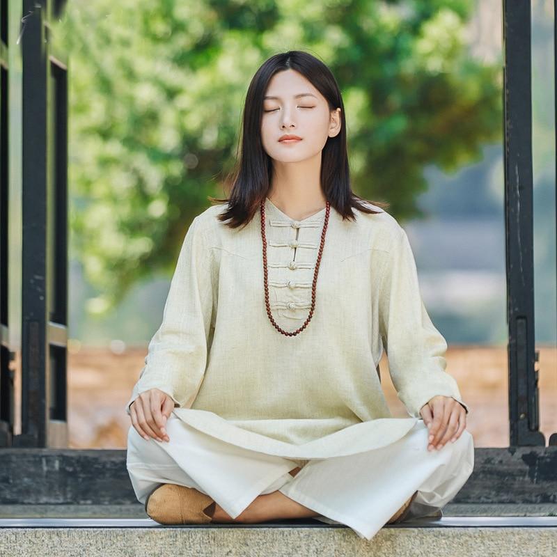 Chinese Style Zen Meditation Clothing Women's Cotton and Linen Yoga Shirt Women Autumn Female kung fu Tai Chi Clothing chinese clothing care