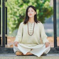 Chinese Style Zen Meditation Clothing Women's Cotton and Linen Yoga Shirt Women Autumn Female kung fu Tai Chi Clothing