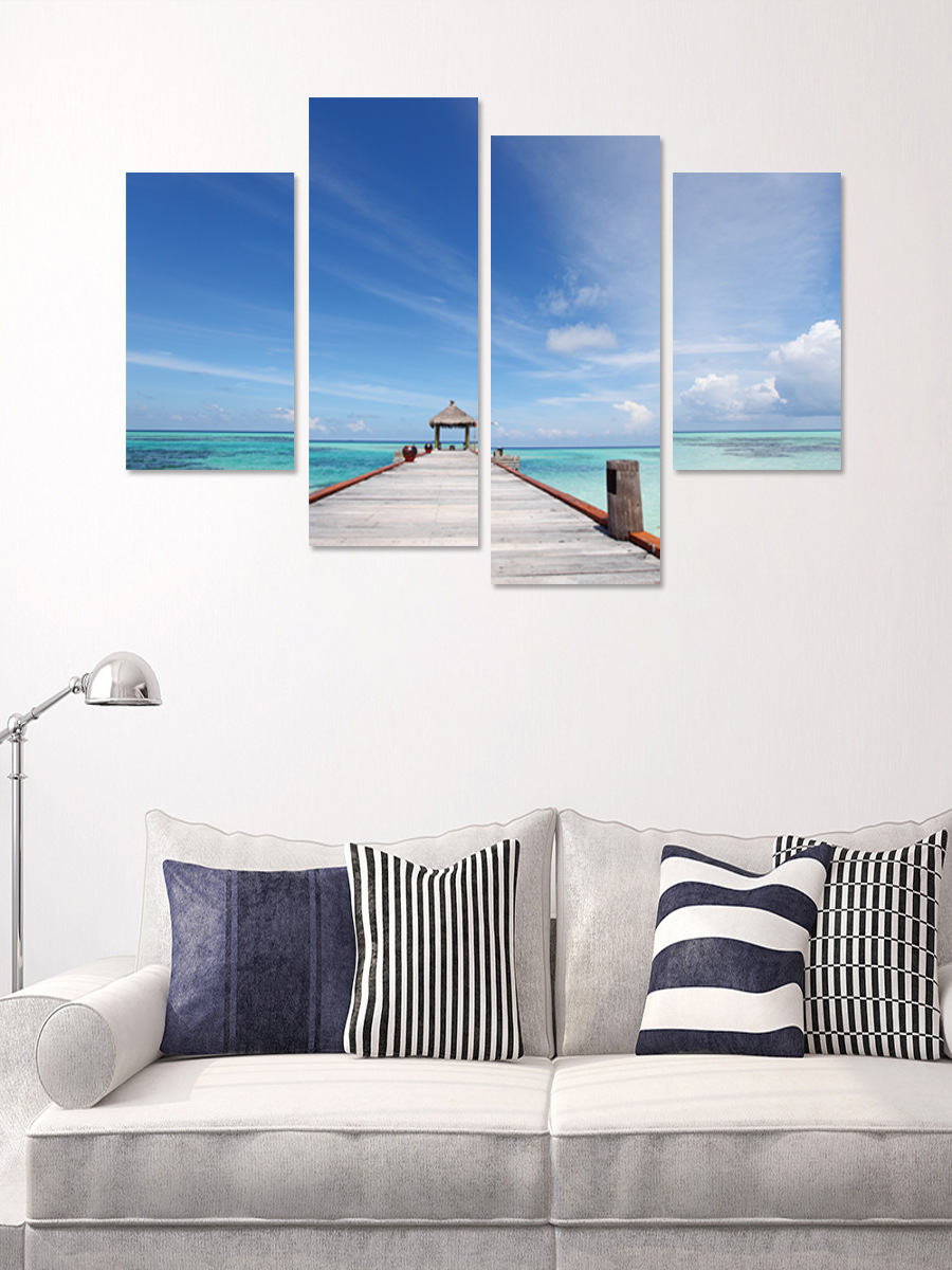 Продвижение Творческий 3D голубое небо пляж Pier пейзаж декоративные диван ТВ фон Водонепроницаемый стены наклейки украшения дома