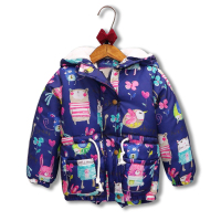 Baby Girls Winter Cotton-Padded Jacket Coat Children Fashion Cartoon Birds Mouse Graffiti Print Plus Thick Velvet Hooded Outwear