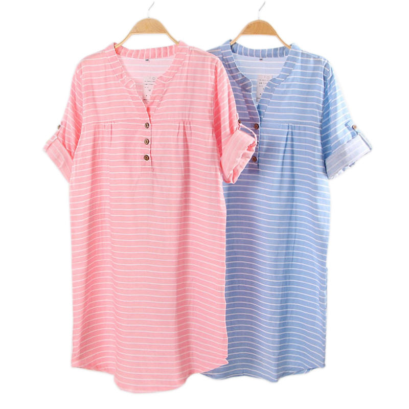 New Summer Fashion Striped 100% Cotton Nightgowns Women Nightdress Casual Long Sleeve V-neck Indoor Sleepdress for Women