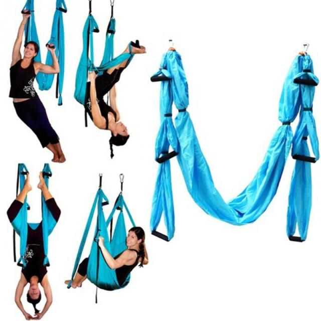 Medium image of hot sale parachute fabric swing inversion therapy anti gravity aerial yoga hammock
