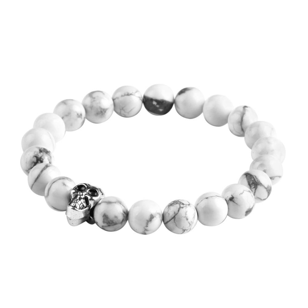 Antique Gold Silver Skull Charm Bracelet Elastic Rope Chain Of Natural Stone Bracelets Women Men Jewelry Pulsera Brazalete Yw065 In Strand From