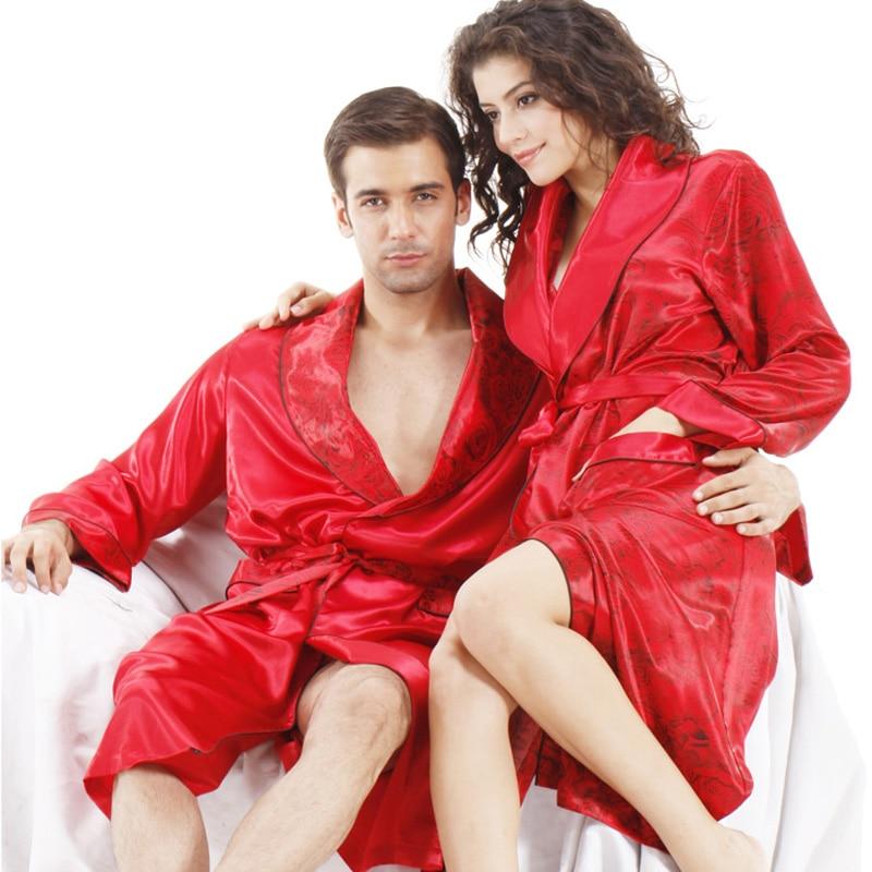 Lovers Couple Robe Rayon Bathrobe For Women&Man Kimono Bath Gown ...