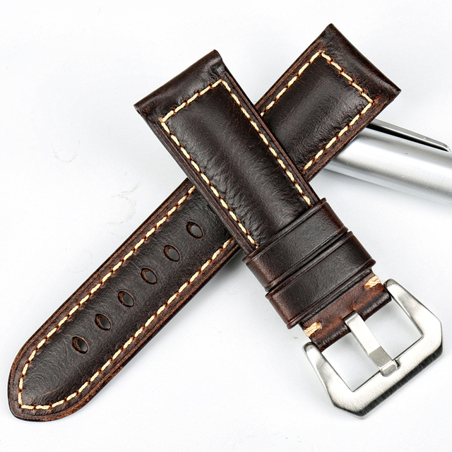 MAIKES Vintage brown watch band 22 24 26mm handmade Italian leather watchband watch accessories men for Hamilton watch strap