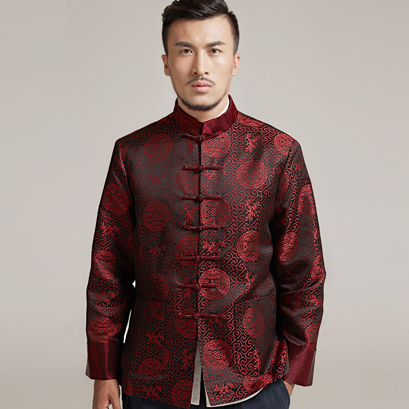 цена High quality ChineseTang Shirt Men Pankou Button Kung fu tops Long Sleeve Martial arts Wushu Jacket tai chi Clothing Tang coat онлайн в 2017 году