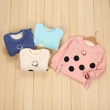 Children winter sweater 2016 new winter girl with thick velvet polka dot face T-shirt pullover shirt