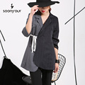 2017 The new listing European and American style has caused the irregular striped suit jacket sleeve ladies wholesale  47632
