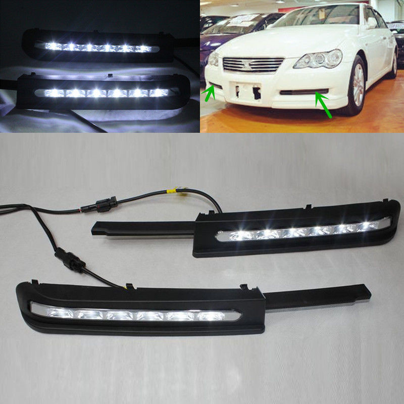 LED DRL Daytime Running Light Fog Lamp For Toyota REIZ MARK X 2005 2006 2007 2008 2009 1 set white led daytime running fog light drl for toyota mark x reiz 2013 2015