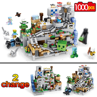 New My world Model Building Blocks Compatible LegoINGLYS Minecraft The Mountain Cave With Elevator Bricks Toys For Children