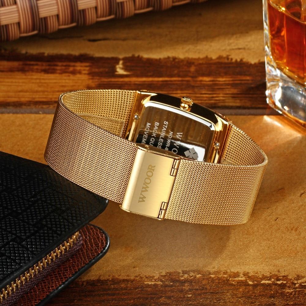 2018 Golden Quartz Watch Men Watches relogio masculino Top Luxury Gold Bracelet Wrist Watches Steel Male Clock whatches Square 6