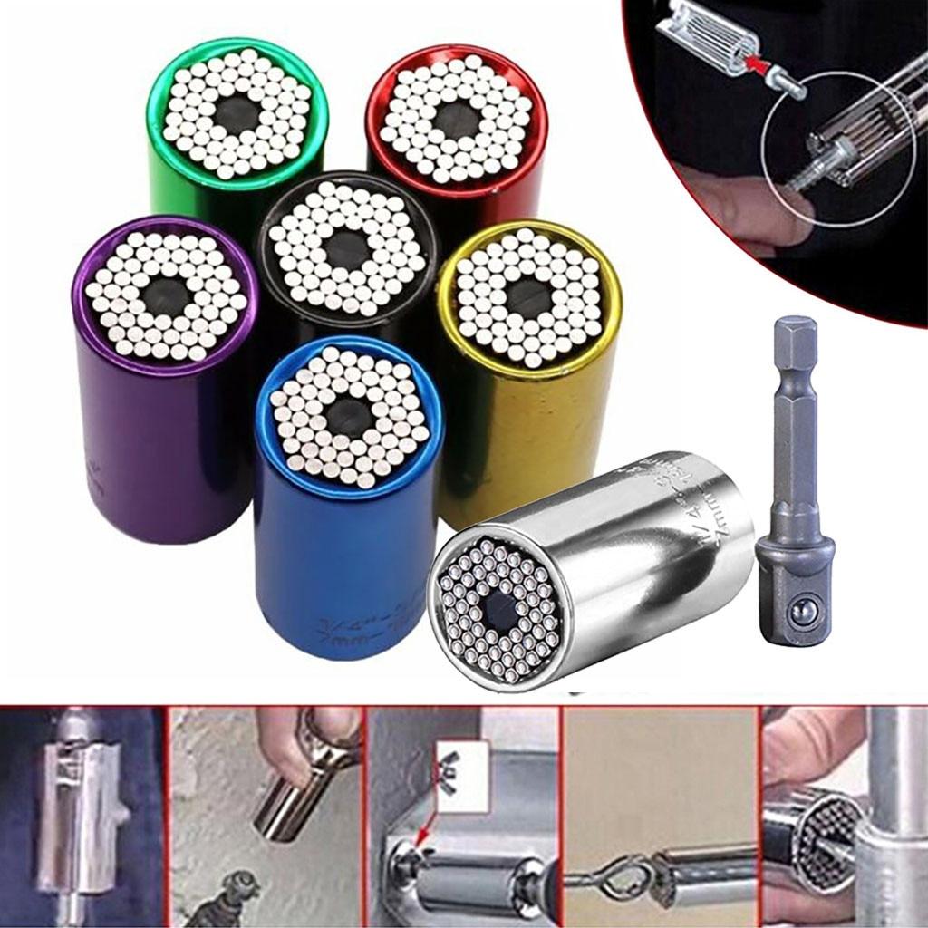 2Pcs Torque Wrench Head Set Universal Socket Sleeve Adapter 7-19mm Power Drill Ratchet Bushing Spanner Key Grip Multi Hand Tools