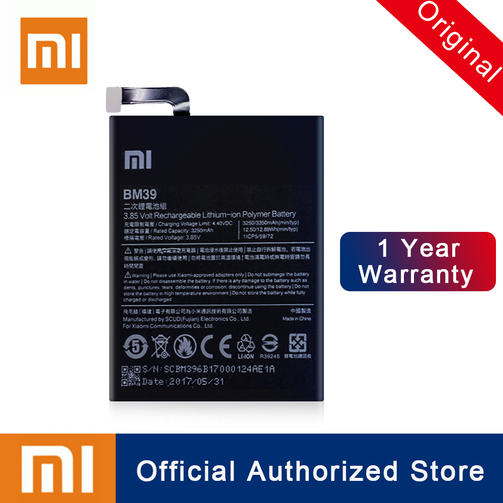 Xiao Mi BM39 For Xiaomi Mi6 Mi 6 Battery 100% Original Replacement 3250mAh Real Capacity Rechargeable Phone Batteria AkkuXiao Mi BM39 For Xiaomi Mi6 Mi 6 Battery 100% Original Replacement 3250mAh Real Capacity Rechargeable Phone Batteria Akku