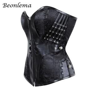 Image 4 - Beonlema Gothic Frauen Korsett Taille Modellierung Sexy Bustiers Steampunk Korsetts Engen Schnürung Schwarz Goth Fuax Leder Korset S 2XL