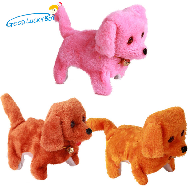 1PCS Electric Toy Soft Plush Walking Glowing Barking Dog Funny Simulation Moving Appease Baby Toys For Children 2017