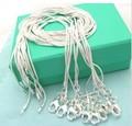 ¡10 unids/lote promoción! Collar de plata de ley 925 al por mayor, cadena de serpiente de joyería de moda de plata mm 1mm collar 16 18 20 22 24