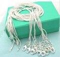 ¡10 unids/lote promoción! Venta al por mayor de Plata de Ley 925 collar de joyería de moda de plata de cadena de serpiente de 1mm collar 16 18 20 22 24