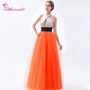 Alexzendra Halter Up Tulle Orange Sexy Backless Long Prom Dresses Party Dress Special Party Gowns