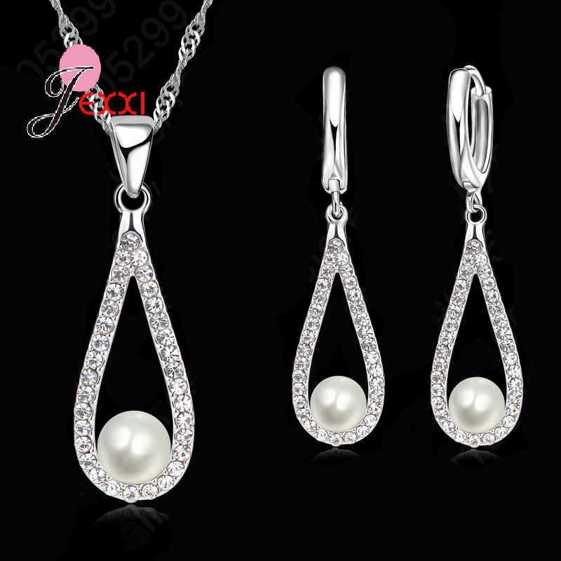 Drop Pearl Elegant 925 Sterling Silver Jewelry Set Necklace Pendant Earring Accessories for Women Charm Anniversary Gift