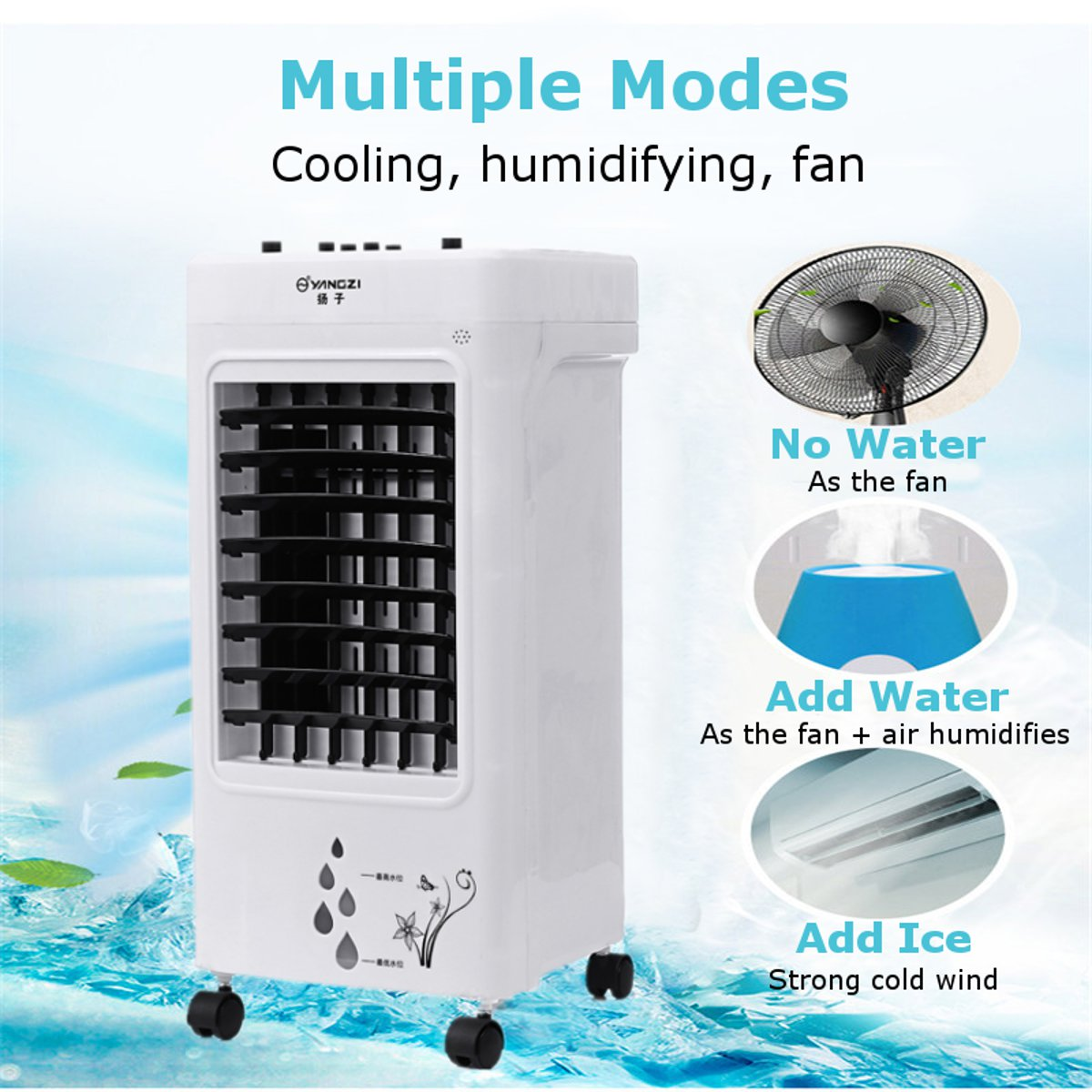 220V 3 Level Portable Air Cooler Fan Portable Handle Desk Electric Fan Mini Air Conditioner Device Cool Soothing Wind Home 60W