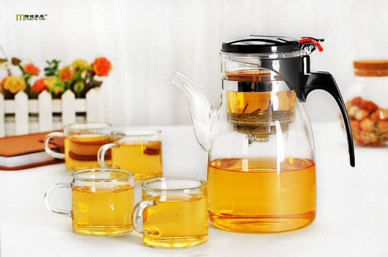 5pcs set New 600ml Longming Home Simple Tea Kettle Tea Pot Heat Glass Teapot with 4pcs